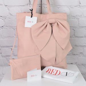 RED VALENTINO Leather Bow Tote w/ Attached Pouch